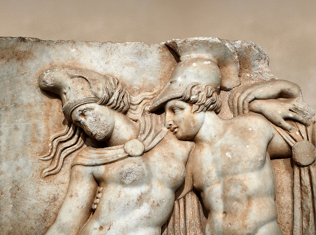 Close up of a Roman Sebasteion relief sculpture of Achilles and a dying Amazon, Aphrodisias Museum, Aphrodisias, Turkey.    Against an art background.<br /> <br /> Achilles supports the dying Amazon queen Penthesilea whom he has mortally wounded. Her double headed axe slips from her hands. The queen had come to fight against the Greeks in the Trojan war and Achilles fell in love with her.