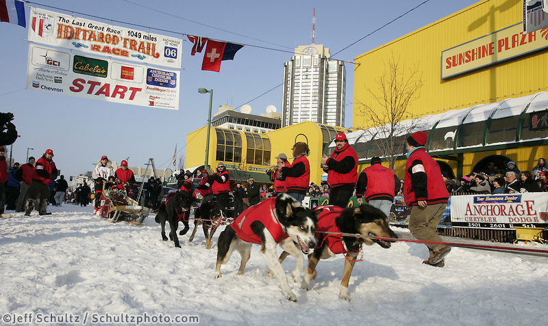 Ramy Brooks leaves the Anchorage start line on 4th avenue during the start of the Iditarod.