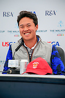 Brandon Wu (USA) during the press conference at the Walker Cup, Royal Liverpool Golf Club, Hoylake, Cheshire, England. 06/09/2019.<br /> Picture Fran Caffrey / Golffile.ie<br /> <br /> All photo usage must carry mandatory copyright credit (© Golffile | Fran Caffrey)
