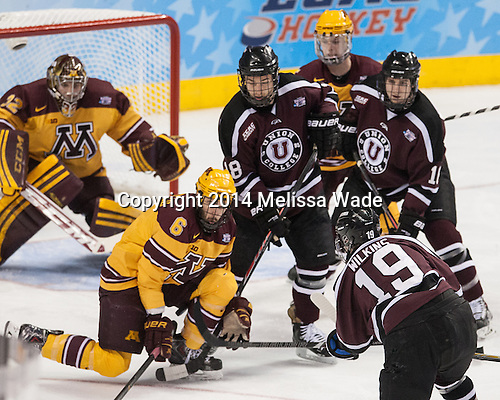 Jake Parenteau (MN - 6), Max Novak (Union - 18), Mike Reilly (MN - 5), Kevin Sullivan (Union - 16), Matt Wilkins (Union - 19) - The Union College Dutchmen defeated the University of Minnesota Golden Gophers 7-4 to win the 2014 NCAA D1 men's national championship on Saturday, April 12, 2014, at the Wells Fargo Center in Philadelphia, Pennsylvania.