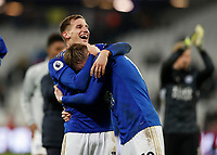 28th December 2019; London Stadium, London, England; English Premier League Football, West Ham United versus Leicester City; Marc Albrighton of Leicester City and James Maddison of Leicester City celebrates after the final whistle  - Strictly Editorial Use Only. No use with unauthorized audio, video, data, fixture lists, club/league logos or 'live' services. Online in-match use limited to 120 images, no video emulation. No use in betting, games or single club/league/player publications