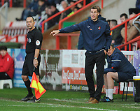 Exeter City's Manager Matt Taylor shouts instructions to his team from the dug-out <br /> <br /> Photographer Kevin Barnes/CameraSport<br /> <br /> Emirates FA Cup First Round - Exeter City v Blackpool - Saturday 10th November 2018 - St James Park - Exeter<br />  <br /> World Copyright &copy; 2018 CameraSport. All rights reserved. 43 Linden Ave. Countesthorpe. Leicester. England. LE8 5PG - Tel: +44 (0) 116 277 4147 - admin@camerasport.com - www.camerasport.com