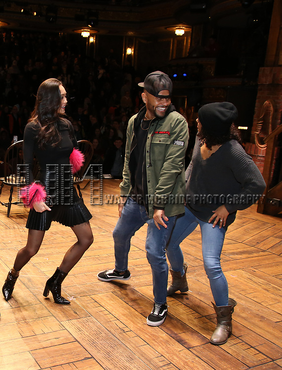 """Sabrina Imamura, Terrance Spencer and Sasha Hollinger during The Rockefeller Foundation and The Gilder Lehrman Institute of American History sponsored High School student #eduHam matinee performance of """"Hamilton"""" Q & A at the Richard Rodgers Theatre on December 5,, 2018 in New York City."""