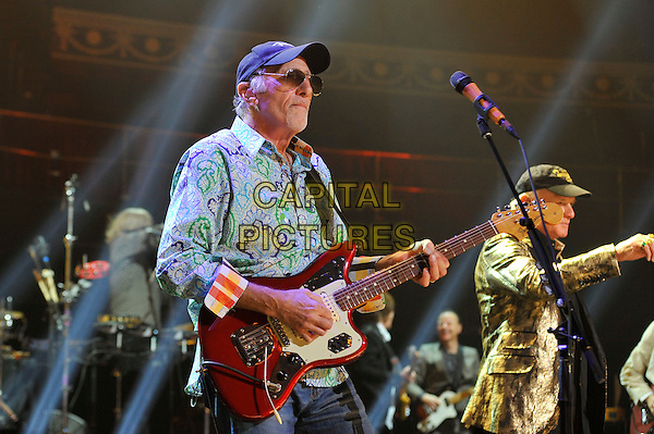 David Marks and Mike Love.The Beach Boys performing at the Royal Albert Hall, Kensington, London, England. .27th September 2012.on stage in concert live gig performance music half length blue green baseball cap hat paisley shirt guitar sunglasses shades gold jacket.CAP/MAR.© Martin Harris/Capital Pictures.