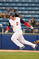Salem Red Sox first baseman David Chester (36) at bat during a game against the Lynchburg Hillcats on April 25, 2014 at Lewisgale Field in Salem, Virginia.  Salem defeated Lynchburg 10-0.  (Mike Janes/Four Seam Images)