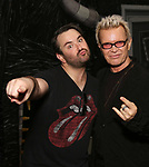 "Alex Brightman and Billy Idol backstage at ""Beetlejuice The Musical"" on Broadway at the Winter Garden Theatre on July 30, 2019 in New York City."