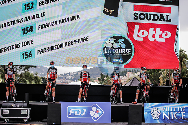 Lotto-Soudal Ladies at the presentation before the start of La Course By Le Tour de France 2020, running 96km from Nice to Nice, France. 29th August 2020.<br /> Picture: ASO/Thomas Maheux   Cyclefile<br /> All photos usage must carry mandatory copyright credit (© Cyclefile   ASO/Thomas Maheux)
