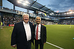 KANSAS CITY, KS - SEPTEMBER 20: SKC co-owner Cliff Illig (left) with U.S. Soccer Federation president Sunil Gulati (right). Sporting Kansas City hosted the New York Red Bulls on September 20, 2017 at Children's Mercy Park in Kansas City, KS in the 2017 Lamar Hunt U.S. Open Cup Final. Sporting Kansas City won the match 2-1.