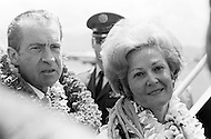 18 Apr 1970, Honolulu, Oahu, Hawaii, USA --- President Nixon and First Lady Pat Nixon in Honolulu where they are greeting the crew members of the Apollo 13 mission, who had to make an emergency return due to an explosion aboard the craft. --- Image by © JP Laffont