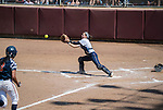 330 MAY 2016: Becky Notte (5) of Messiah College records an out at home plate against University of Texas-Tyler in the Division III Women's Softball Championship held at the James I Moyer Sports Complex in Salem, VA.  University of Texas-Tyler defeated Messiah College 7-0 for the national title. Don Petersen/NCAA Photos