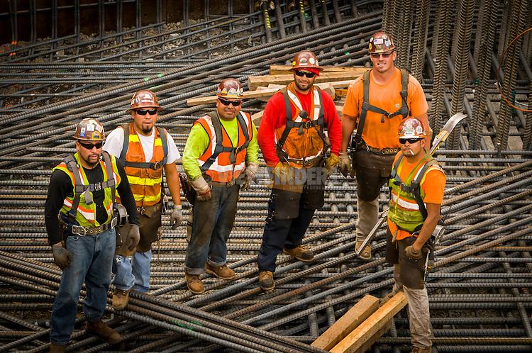Construction workers at Trimet's Portland-Milwaukie Light Rail Bridge Project.