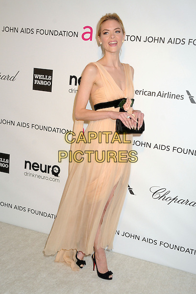 Jaime King.21st Annual Elton John Academy Awards Viewing Party held at West Hollywood Park, West Hollywood, California, USA..February 24th, 2013.oscars full length orange pink peach dress black waistband clutch bag sheet sleeveless slit split .CAP/ADM/BP.©Byron Purvis/AdMedia/Capital Pictures.