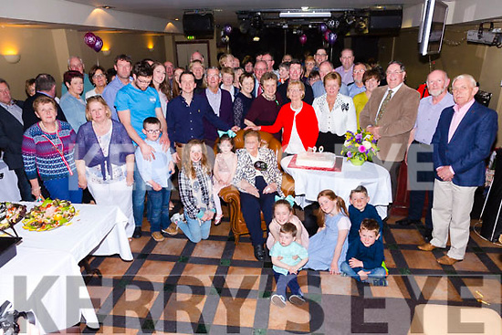 Ellen Nelly O'Connell seated front centre from Cahersiveen celebrating her 90th birthday with family and friends in the Kerry Coast Hotel Cahersiveen on Easter Sunday.
