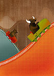 Bull and Bear riding on roller coaster depicting the concept of ups and downs of stock market