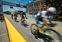 NWA Democrat-Gazette/BEN GOFF @NWABENGOFF<br /> Cyclists compete in the Master B (category 3-5) age 35+ race Saturday, July 7, 2018, during The Natural State Criterium Series in downtown Rogers. The third annual series produced by BikeNWA began with races in downtown Bentonville Friday evening. The series concludes Sunday in downtown Springdale with the first event starting at 8:50 a.m. and the final event starting at 4:00 p.m. A criterium is a type of bicycle race where riders lap a short, closed circuit on downtown city streets.