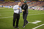 010313--Oregon Ducks Head Coach Chip Kelly joke s around with former Duck Ahmad Rashad before the Fiesta Bowl between the Oregon Ducks and the Kansas State Wildcats at the University of Phoenix Stadium in Glendale, Az..Photo by Jaime Valdez