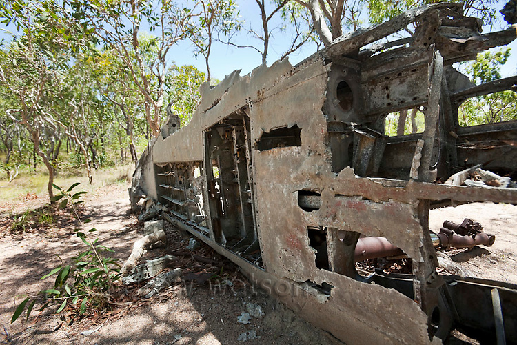 The wreckage of a World War II aircraft on Horn Island.  The island was a strategic outpost during WWII and was bombed numerous times by the Japanese.  Horn Island, Torres Strait Islands, Queensland, Australia