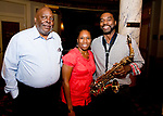 WATERBURY, CT-091318JS17--Calvin Johnson of Shelton; Janice Mitchell-Smith of Bridgeport and Quinn Mitchell of Meriden, at the Arts and Army fundraiser for the Greater Waterbury Salvation Army held at the Palace Theater in Waterbury. <br /> Jim Shannon Republican American