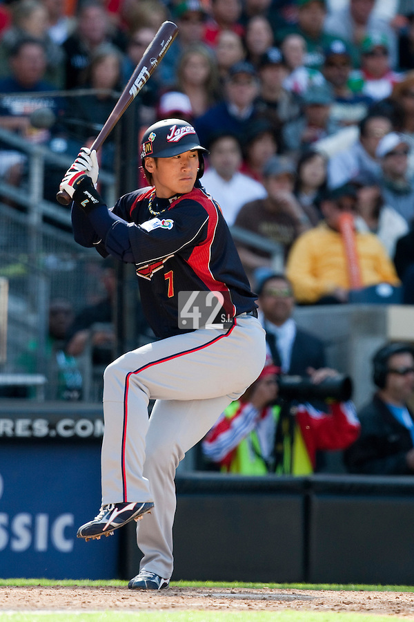 15 March 2009: #7 Yasuyuki Kataoka of Japan is seen at bat during the 2009 World Baseball Classic Pool 1 game 1 at Petco Park in San Diego, California, USA. Japan wins 6-0 over Cuba.