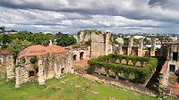 Aerial view of the Monasterio de San Francisco, a monastery built 1508 by Spanish Franciscan friars, in the Colonial Zone of Santo Domingo, Dominican Republic, in the Caribbean. The complex was built under Nicolas de Ovando and it is the first monastery in the New World. The building has been repeatedly damaged by hurricanes and earthquakes and is now in ruins. Santo Domingo's Colonial Zone is listed as a UNESCO World Heritage Site. Picture by Manuel Cohen