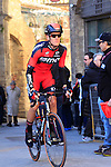 Alessandro De Marchi (ITA) BMC Racing Team makes his way to sign on before the start of the 2015 Strade Bianche Eroica Pro cycle race 200km over the white gravel roads from San Gimignano to Siena, Tuscany, Italy. 7th March 2015<br /> Photo: Eoin Clarke www.newsfile.ie