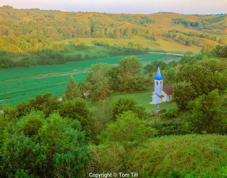 Historic church, Iowa Loess Hills, Iowa, 19th century church, Near Missouri River,  July,  Sunrise