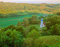 Historic church, Iowa Loess Hills, Iowa, 19th century church, Near Missouri River,  July,  Sunrise