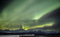 Winter landscape of Northern Lights (Aurora Borealis) over the southside of Denali and the Alaska Range