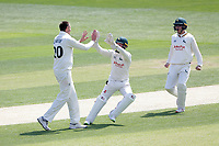 Matthew Carter of Notts celebrates with his team mates after taking the wicket of Nick Browne during Essex CCC vs Nottinghamshire CCC, Specsavers County Championship Division 1 Cricket at The Cloudfm County Ground on 15th May 2019