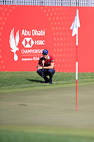 Thomas Detry (BEL) on the 17th green during the 3rd round of the Abu Dhabi HSBC Championship, Abu Dhabi Golf Club, Abu Dhabi,  United Arab Emirates. 18/01/2020<br /> Picture: Fran Caffrey | Golffile<br /> <br /> <br /> All photo usage must carry mandatory copyright credit (© Golffile | Fran Caffrey)
