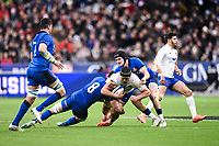 9th February 20020, Stade de France, Paris, France; 6-Nations international mens rugby union, France versus Italy;  Gregory Alldritt ( France ) - Braam Steyn (Italy ) and Carlo Canna (Italy )
