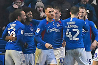 Ellis Harrison of Portsmouth second left is congratulated by team mates after scoring the first goal during Portsmouth vs Shrewsbury Town, Sky Bet EFL League 1 Football at Fratton Park on 15th February 2020