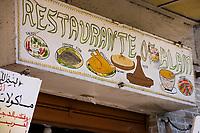 Afrique/Afrique du Nord/Maroc/Rabat: enseigne d'un restaurant dans le quartier du marché central