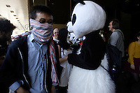 June 5, 2012-  File Photo - Montreal, Quebec, CANADA -   Anarchopanda at Montreal's Palais de Justice.<br />