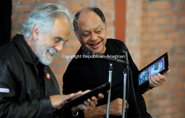 """TORRINGTON, CT-120 APRIL 2012--042012JS07-Tommy Chong and Cheech Marin introduce their new phone and tablet app """"The Fatty"""" during a press conference Friday at the Nancy Marine Studio in  Torrington prior to their show """"Get it Legal"""" at the Warner Theatre.. Jim Shannon Republican-American"""