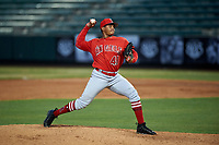 AZL Angels relief pitcher Kelvin Caceres (41) during an Arizona League game against the AZL Padres 1 on July 16, 2019 at Tempe Diablo Stadium in Tempe, Arizona. The AZL Padres 1 defeated the AZL Angels 3-1. (Zachary Lucy/Four Seam Images)