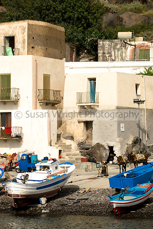 Fishing village of Alicudi, Eolie Islands, Sicily, Italy.