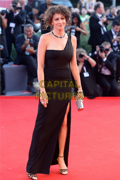 Ksenia Rappoport<br /> attending the Closing Ceremony of the 70th Venice International Film Festival at Palazzo del Cinema in Venice, Italy, September 7th 2013.<br /> full length black dress one shoulder strap long maxi slit split silver clutch bag ankle strap shoes sandals <br /> CAP/ZZG<br /> &copy;ZZG/Capital Pictures