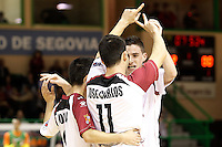 Caja Segovia's Borja Diaz (l), Jose Carlos Lopez (c) and Antonito Sierra celebrate goal during Spanish National Futsal League match.November 24,2012. (ALTERPHOTOS/Acero) /NortePhoto