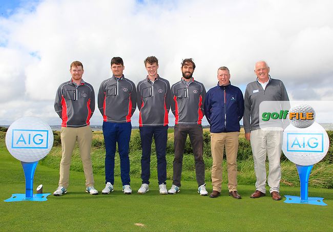 The County Sligo Team during the Connacht Final of the AIG Barton Shield at Galway Bay Golf Club, Galway, Co Galway. 11/08/2017<br /> <br /> Ruairi O'Connor, TJ Ford, David Brady, Mark Morrissey, Aidan Doyle and Brendan McKenna (AIG - Brand Ambassador - Sponsor).<br /> <br /> Picture: Golffile | Thos Caffrey<br /> <br /> <br /> All photo usage must carry mandatory copyright credit     (&copy; Golffile | Thos Caffrey)