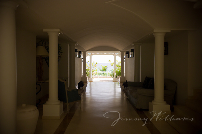 The hallway of a beautiful resort.