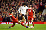 Nathaniel Clyne of Liverpool tackles Marouane Fellaini of Manchester United during the UEFA Europa League match at Anfield. Photo credit should read: Philip Oldham/Sportimage