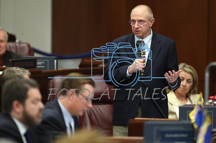 Nevada Sen. Joe Hardy, R-Boulder City, speaks on the Senate floor at the Legislative Building in Carson City, Nev., on Tuesday, May 21, 2013. .Photo by Cathleen Allison