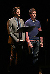 Colin Hanlon and Barrett Foa on stage at the Vineyard Theatre 2017 Gala at the Edison Ballroom on March 14, 2017 in New York City.