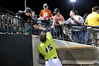 Catcher Hayden Senger (15) of the Columbia Fireflies signs autographs after a game against the Charleston RiverDogs on Saturday, April 6, 2019, at Segra Park in Columbia, South Carolina. Columbia won, 3-2. (Tom Priddy/Four Seam Images)