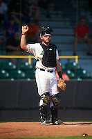 Clinton LumberKings catcher Adam Martin (27) during a game against the Great Lakes Loons on August 16, 2015 at Ashford University Field in Clinton, Iowa.  Great Lakes defeated Clinton 3-2.  (Mike Janes/Four Seam Images)
