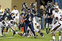 6 November 2010:  FIU wide receiver T.Y. Hilton (4) returns a kickoff 95 yards for a touchdown in the first quarter as the FIU Golden Panthers defeated the University of Louisiana-Monroe Warhawks, 42-35 in double overtime, at FIU Stadium in Miami, Florida.