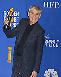 Ellen Degeneres 130 poses in the press room with awards at the 77th Annual Golden Globe Awards at The Beverly Hilton Hotel on January 05, 2020 in Beverly Hills, California.