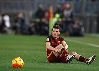Calcio, Serie A: Roma vs Milan. Roma, stadio Olimpico, 9 gennaio 2016.<br /> Roma's Alessandro Florenzi sits on the pitch during the Italian Serie A football match between Roma and Milan at Rome's Olympic stadium, 9 January 2016.<br /> UPDATE IMAGES PRESS/Riccardo De Luca