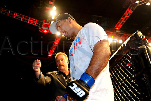 5.11.2011 Birmingham, England. Mark Munoz (USA) leaves the cage victor in his Middleweight bout on the Main card during UFC 138: Leben vs. Munoz at the LG Arena. Munoz wins by TKO before the start of the third round after dominating the fight.